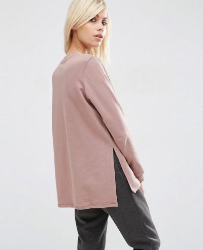 New Stylish Side Split Zipper Women Sweatshirt