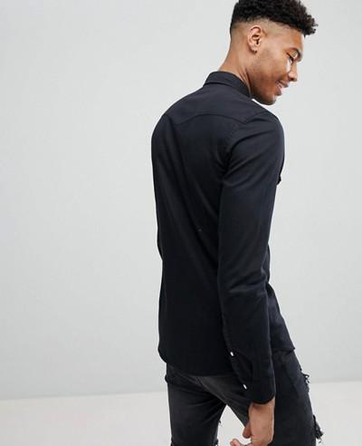 New Stylish Skinny Denim Western Shirt In Black