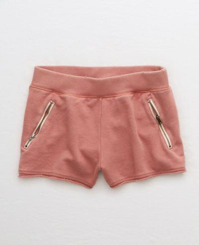 New-Stylish-Women-Fleece-Zipper-Pocket-Short