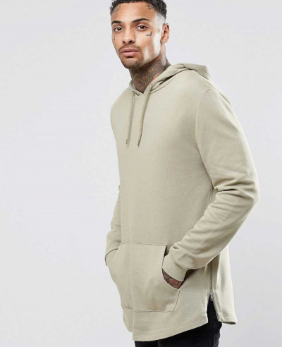 New Look About Apparels Hoodies Sweatshirts Casual Longline Hoodie With Side Zipper Curved Hem