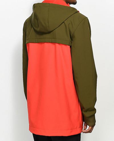 Olive-&-Red-Stylish-With-Longline-Softshell-Jacket