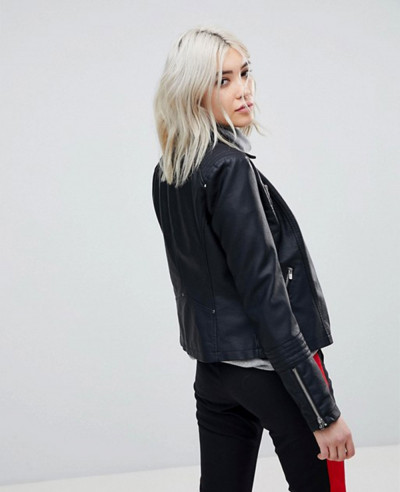 Only Leather Look Biker Jacket