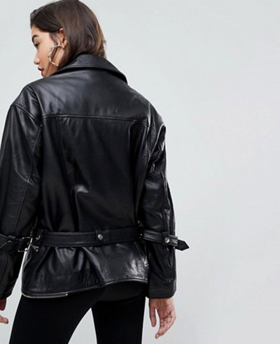 Oversized Deconstructed Leather Biker Jacket