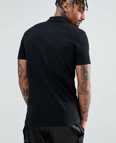 Pique Polo With Zipper Neck In Black
