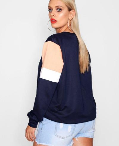 Plus Isobel Colour Block Sweat Top Sweatshirt