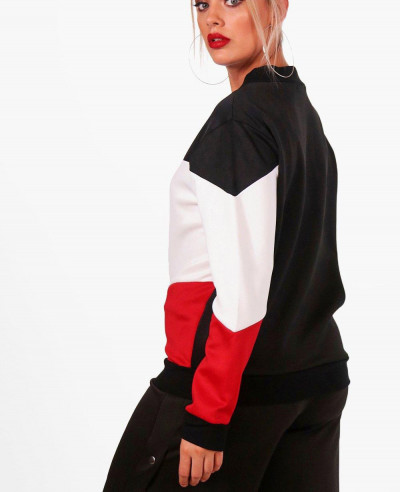 Plus-Size-Fashion-Colour-Block-Bomber-Varsity-Jacket