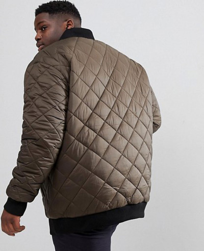 Plus Size Quilted Bomber Zipper Thru Padded Jacket