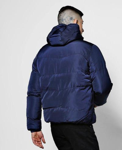 Puffer With Tech Zipper Jacket In Navy Blue
