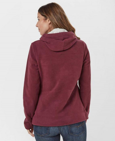 Pullover-Burgundy-Hooded-Fleece-Jacket