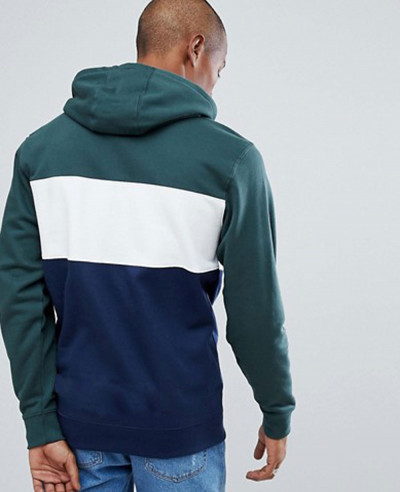 Pullover Colour Block Hoodie In Navy