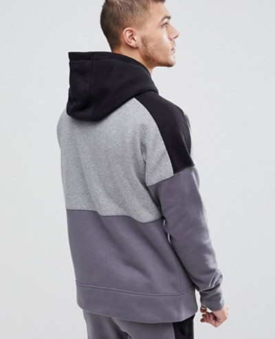 Pullover Hood With Large Logo In Grey