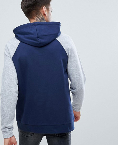 Pullover With Nep Raglan Sleeves In Navy Hoodie