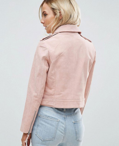 Real Pink Suede Biker Moto Leather Jacket