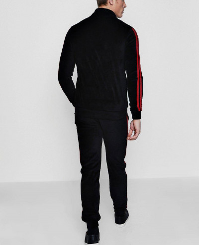 Red Velour Stripe Tracksuit