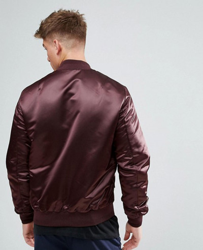 Satin Look Bomber Jacket In Burgundy