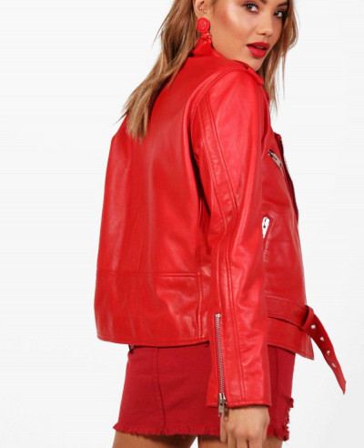 Sheep Red Leather Biker Jacket