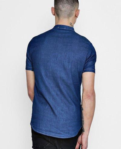 Short Sleeve Denim Chambray Western Shirt