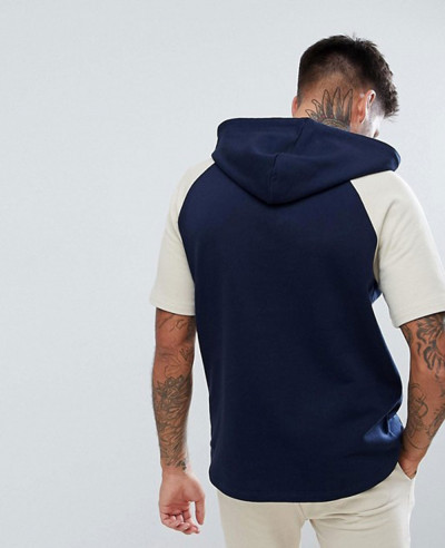 Short Sleeve Hoodie In Navy And Beige