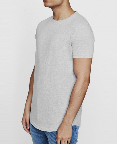 Short Sleeve Longline T Shirt with Curve Hem
