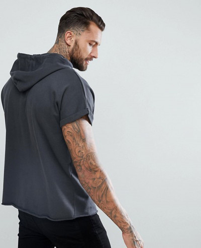 Short Sleeve Oversized Hoodie In Washed Black