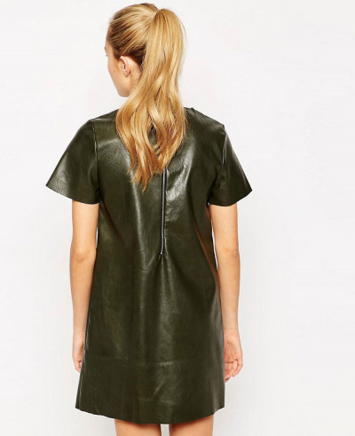 Short-Sleeve-Shift-Cheap-Dress-in-Leather-Look