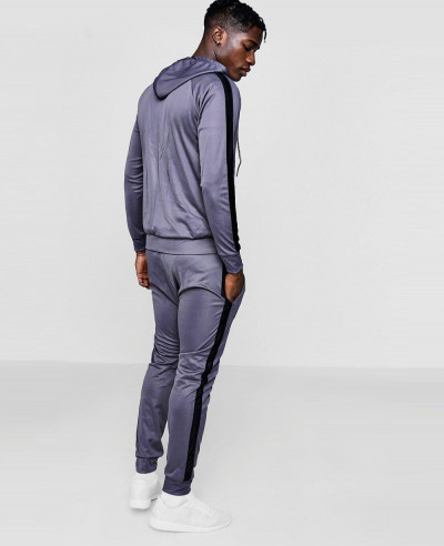 Skinny Contrast Panel Hooded Tracksuits