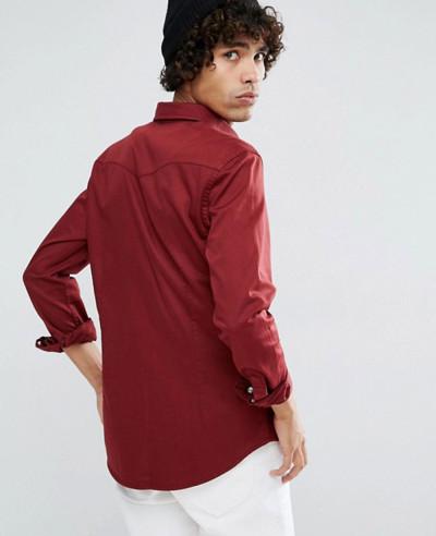 Skinny Denim Western Shirt In Burgundy