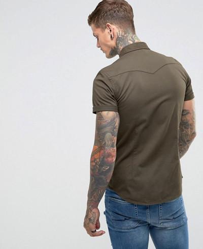 Skinny Denim Western Shirt In Khaki