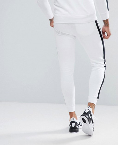 Skinny Joggers In White With Side Stripes Exclusive