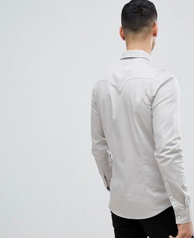 Skinny Western Denim Shirt In Light Grey