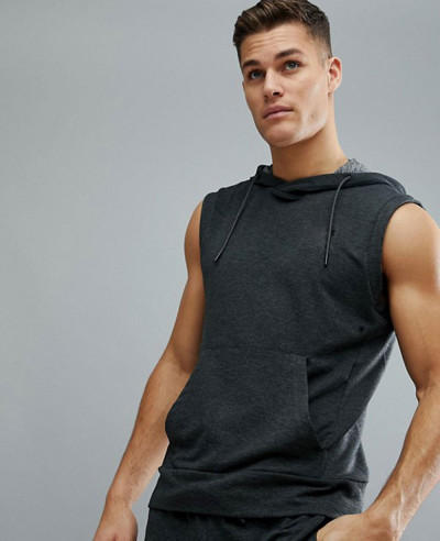 Sport Training Sleeveless Hoodie in Grey