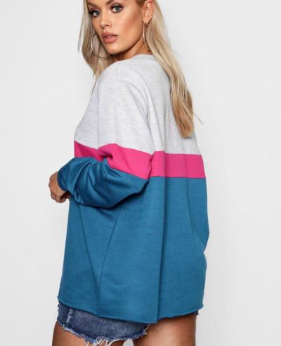 Sports Stripe Colour Block Sweat Top Sweatshirt