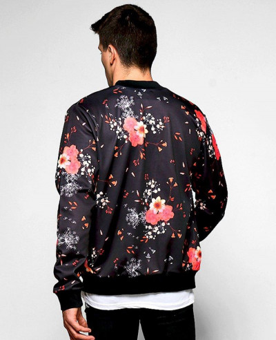 Sublimation Oversized Big And Tall Black Rose Ombre Printed Bomber