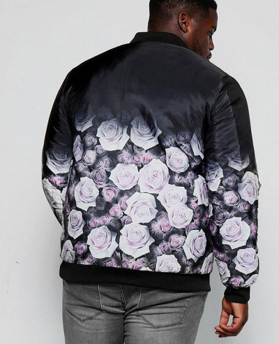 Sublimation Big And Tall Black Rose Ombre Printed Bomber Varsity Jacket