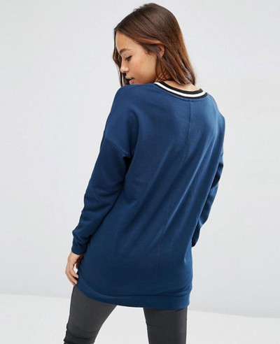 Sweatshirt With Stripe Tipping In Longline