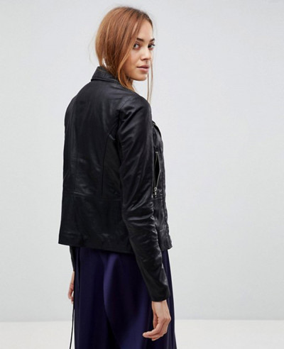 Tall Leather Biker Jacket