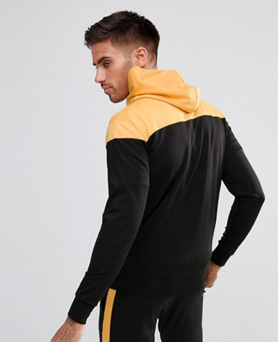 Track Zipper Through Hoodie In Black