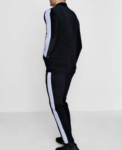 Velour Black Panel Detail Skinny Fit Tracksuit
