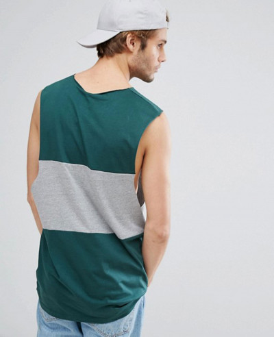 Vest-With-Dropped-Armhole-and-Contrast-Panel-Tank-Top