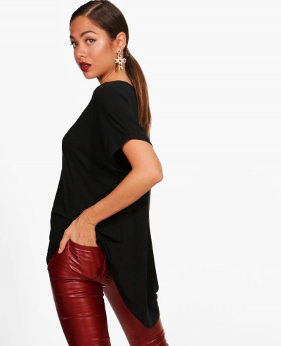 Women-Black-Basic-Oversized-Tee