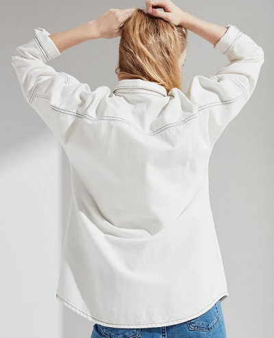 Women-Contrast-Stitch-Button-Down-Denim-Shirt
