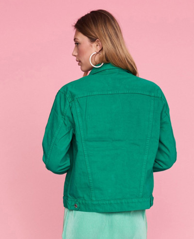 Women-Green-Denim-Jacket