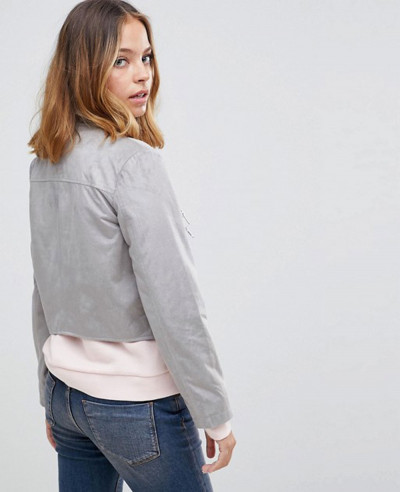 Women Grey Suedette Biker Jacket