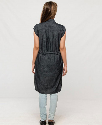 Women-Long-Dark-Grey-Denim-Shirt-Waist-Belt-&-Capped-Sleeves