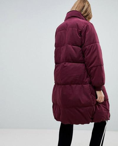 Women-Maroon-Longline-Padded-Jacket