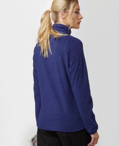 Women-Navy-Blue-Custom-Half-Zipper-Fleece-Jacket