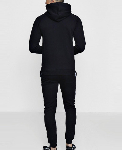 Zip Up New Black Skinny Fit Reflective Tracksuit