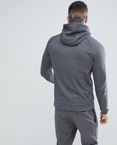 Zip Up Through Colour Block Hoodie In Grey