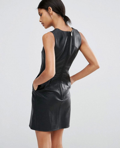 Zipper-Warehouse-Leather-Look-Mini-Dress