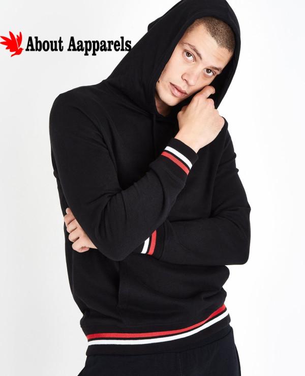 Black-Stripe-Hem-Hooded-Sweatshirt